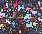 "W077A - Vinyl Waterproof Fabric - Animals - Black - 27""x19""(70cmX50cm)"