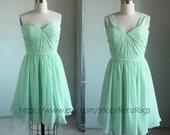 2016 Mint Bridesmaid dress, Pleated Graduation dress, Short Prom dress, Chiffon Formal dress, A line Removable Strap knee length (B060)