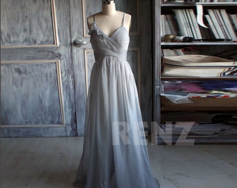 2015 Gray Bridesmaid Dress, Chiffon Gray Prom Dress, Sweetheart Rosette Wedding Dress, A line Backless Formal Dress Floor Length (B085A)