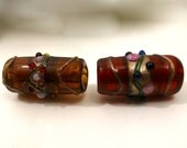 Lampwork Vintage Lamp Work Wedding Cake Glass Beads Red-Brown 10mm by 20mm