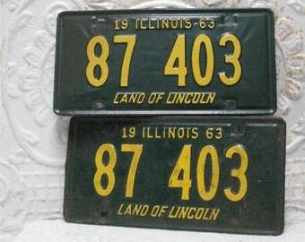 1963 Pair Illinois License Plates 87 403 Green Yellow