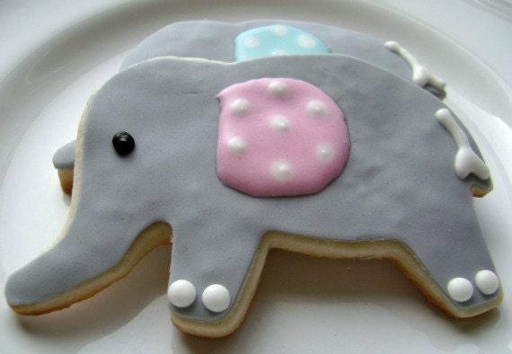 Baby Elephant Sugar Cookies 6 Cookies by pfconfections on Etsy