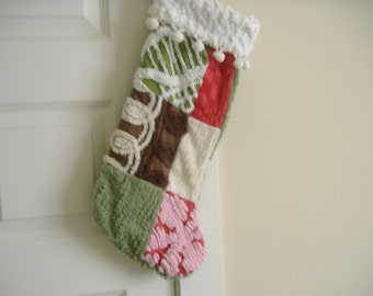 Quilted Christmas Stocking Vintage Chenille Patchwork Cabin Craft by Shuggie's Attic