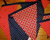 Nautical Nursery Shower Party Decor - Photo Prop - Red, Navy & White Polka Dot Fabric Banner Bunting - Nursery or Room Decor - Classroom