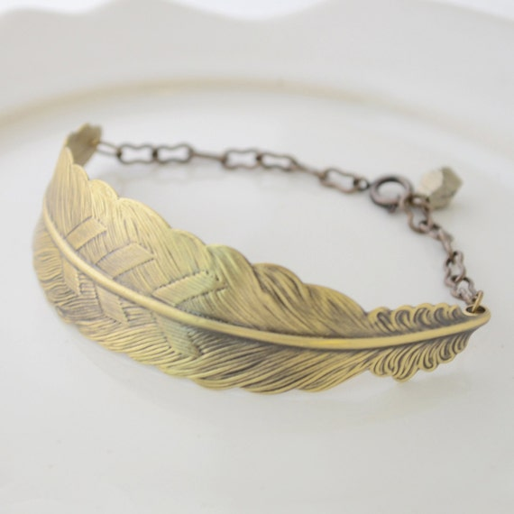 feather bracelet with pyrite brass feather by oliveyewjewels