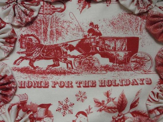 Home For The Holidays Christmas Sleigh Toile Red On Cream Yo