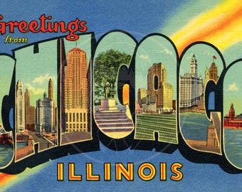 Greetings from Chicago - 10x16 Giclée Canvas Print of Vintage Postcard
