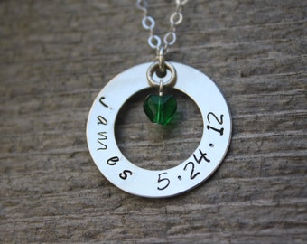 Handstamped Washer Pendant Necklace, Personalized Baby Name Jewelry
