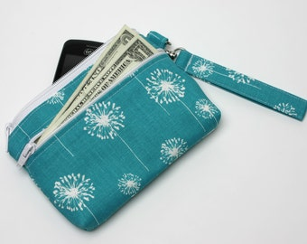 Medium iPhone Wrist Wallet, Clutch with Removable Strap -Handmade