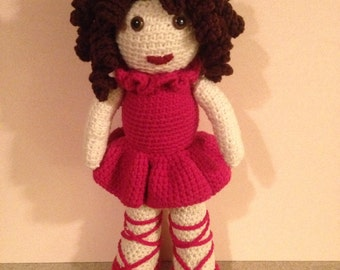 Curly Haired Crochet Ballerina Doll in Hot Pink