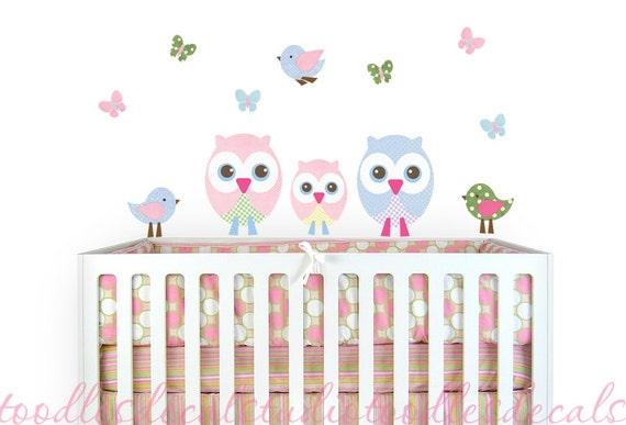 Owl bird butterfly nursery kids fabric wall decal sticker for Bird nursery fabric
