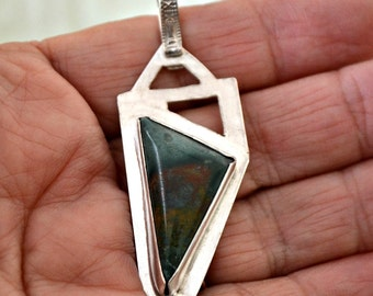 "modern abstract sterling silver and fancy jasper pendant.  ""Abstraction"""