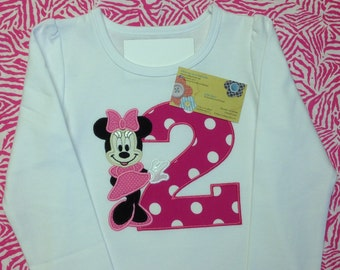 Minnie Mouse with Number Birthday Shirt - Appliqued and Personalized