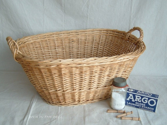 Vintage Wicker Laundry Basket MADE In Hungary