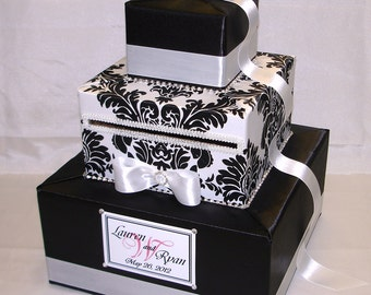 Elegant Custom Made WeddingCard Box -Rhinestone Accents(any color)