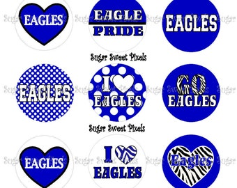 INSTANT DOWNLOAD Blue white Eagles School Mascot 1 inch circle Bottlecap Images