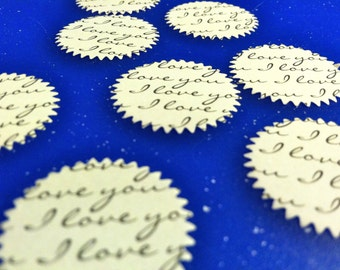 100 I LOVE YOU Scalloped Circles 1 inch Birthday party ,scrapbooking, cards