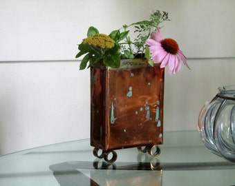 Copper Vase, Vintage Handmade Copper Vase, Rectangle Shape Vase
