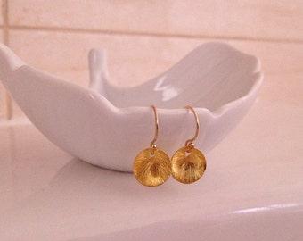 Tiny Gold Disc Earrings -Gold Dot Earrings -Sun Drop Earrings -Tiny Gold Earrings