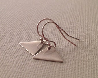Triangle Earrings in Silver -Silver Triangle Earrings -Silver Geometric Earrings -Minimalist Earrings