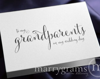 Wedding Card to Your Grandparents - Grandparents of the Bride or Groom Cards, Grandmother, Grandfather Family On My Wedding Day Note - CS07
