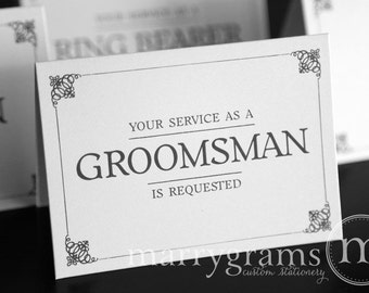 Groomsman Service is Requested Card, Best Man, Usher, Ring Bearer- Simple Wedding Cards for Guys to Ask Groomsmen, Bridal Party (Set of 7)