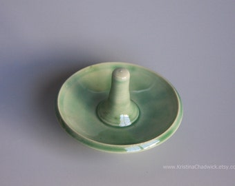 Ring Holder Green Handmade Ceramic
