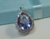 2 Pc -  Silver Plated Tanzanite Colored Glass Teardrop Setting, Waterdrop Setting Pendant,Earring Findings (19x12MM) TDTK2