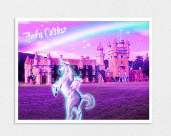 Kitty Dream Land - Cat Unicorn Print 8x10 Pastel Cute Kawaii Lisa Frank Rainbow Castle Pink Kitten
