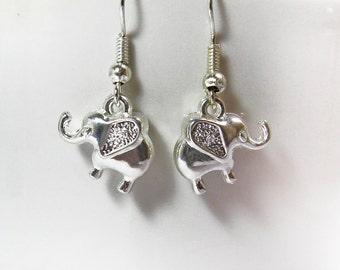 Silver Elephants Earrings-Elephant Jewelry, Silver Earrings