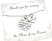 """Mother in Law gift """"The love between a mother and her son is forever""""  necklace for any holiday or occasion"""