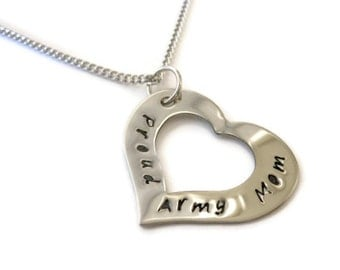 SALE: Proud Army Mom Necklace Customized for any branch or relationship, Proud Girlfriend, Proud Wife, Proud Mom, Marines, Navy