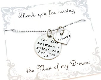 """Mother in Law gift """"The love between a mother and her son is forever""""  necklace for mother in laws, mother of the groom"""