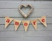 Amore glittered burlap bunting banner