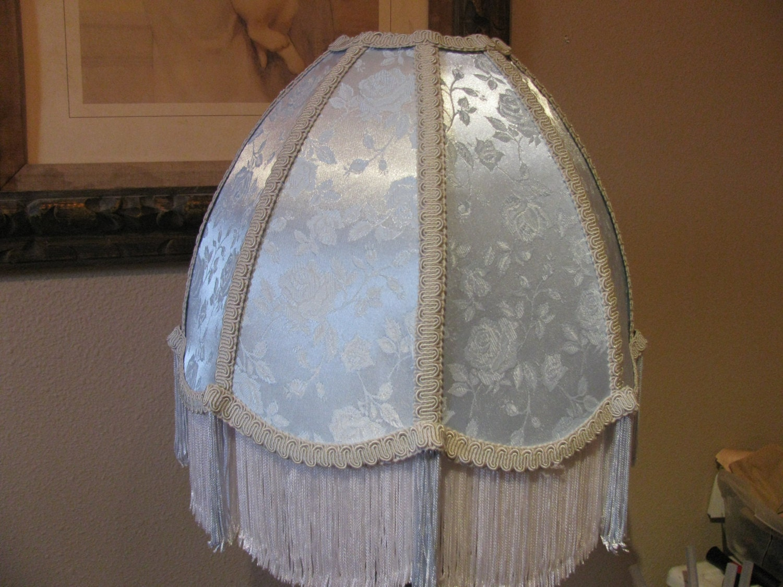 victorian french lamp shade fringe blue ice finge by devongionni. Black Bedroom Furniture Sets. Home Design Ideas
