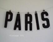 Vintage Sign Letters PARIS Black Acrylic Plastic Letters