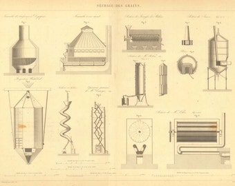 1847 Antique French Technical Drawing 165 Years Old Large Print, Grain Draining Equipment  and Machines