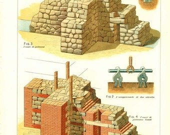 Technical Drawing Stone Walls Construction Techniques  Italy 1900