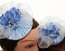 Dainty Child and Doll  Fascinator Set  in Pastel Bluel