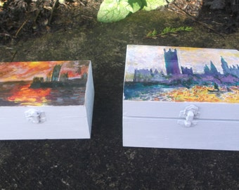 Pair of Jewellery boxes with paintings of London
