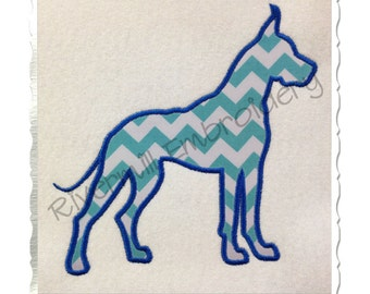 Applique Great Dane Silhouette Machine Embroidery Design - 4 Sizes
