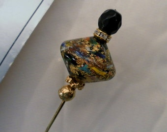 Vintage 4.5 Inch Italian Murano Glass Stick Pin on Org Card. Free Form Multi-Color Hand Blown Glass. Blk Faceted Top w Inset of Crystals.