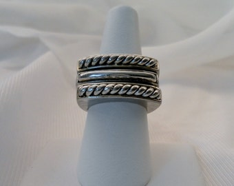 Vintage Sterling Silver Set of 3 Stacking Rings. Modernist Design. Raised 6mm Height Bar. Size 7.5