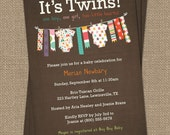 Twin Onesie Colorful Baby shower Invitation, Boy/Girl Twins, Printable file