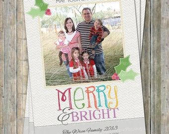 Colorful Christmas Card, holiday photo card, Merry and Bright, digital printable file