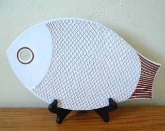 Vintage Arabia of Finland Fish Trivet, Fish Cutting Board, Mid Century Serving Platter Kaarina Aho,