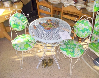 Retro Bistro Table and Chairs Patio Garden Cottage Set - Original Upholstery