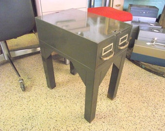 Industrial Storage Side End Table - Metal File Box Night Stand - ORIGINAL Army Green