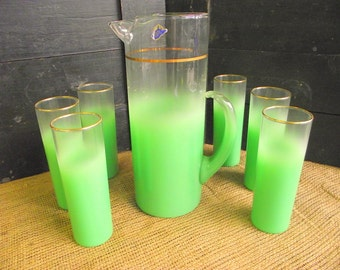 Vintage Blendo 7 Pc Lime Green Frosted Pitcher & 6 Glasses - West Virginia Glass - Unused Condition