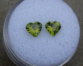Peridot heart gem pair 6mm each